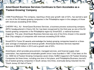 AmeriQuest Business Services Continues to Earn Accolades