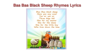 Baa Baa Black Sheep Rhyme Song With Lyrics
