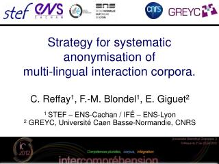 Strategy for systematic anonymisation of  multi-lingual interaction corpora.