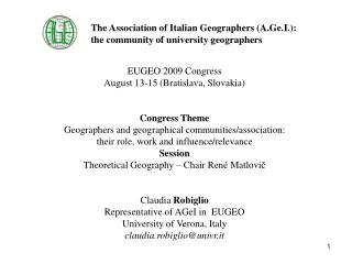 The Association of Italian Geographers A.Ge.I.:  the community of university geographers