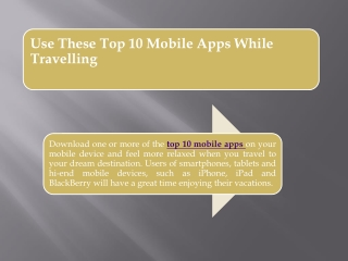 Use These Top 10 Mobile Apps While Travelling