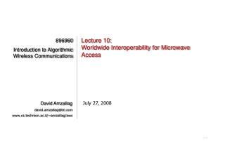 Lecture 10: Worldwide Interoperability for Microwave Access