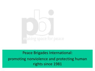 Peace Brigades International:  promoting nonviolence and protecting human rights since 1981