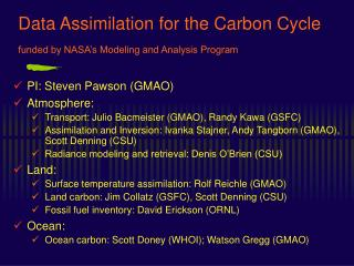 Data Assimilation for the Carbon Cycle  funded by NASA s Modeling and Analysis Program