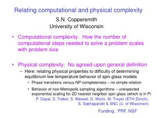 Relating computational and physical complexity