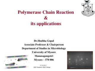 Polymerase Chain Reaction  its applications