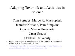 adapting textbook and activities in science