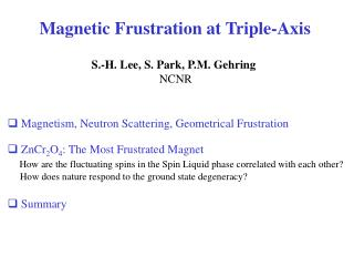 Magnetic Frustration at Triple-Axis