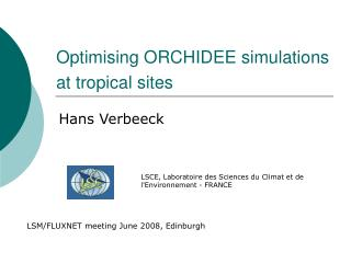 Optimising ORCHIDEE simulations at tropical sites