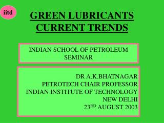 GREEN LUBRICANTS CURRENT TRENDS