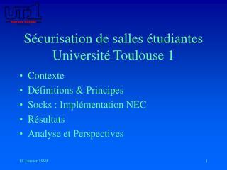 S curisation de salles  tudiantes Universit  Toulouse 1