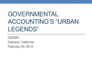 Governmental Accounting s  Urban legends