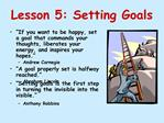 Lesson 5: Setting Goals