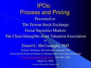 IPOs:  Process and Pricing