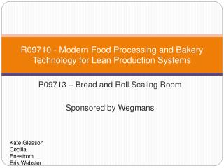 R09710 - Modern Food Processing and Bakery Technology for Lean Production Systems