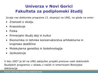 Univerza v Novi Gorici Fakulteta za podiplomski  tudij