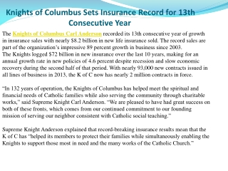 Knights of Columbus Sets Insurance Record for 13th Consecuti
