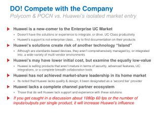 DO Compete with the Company Polycom  POCN vs. Huawei s isolated market entry