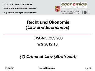 Prof. Dr. Friedrich Schneider   Institut f r Volkswirtschaftslehre   econ.jku.at