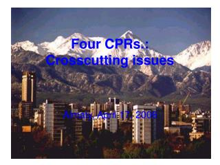 Four CPRs.:  Crosscutting issues