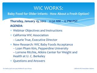 WIC WORKS:  Baby Food for Older Infants - How About a Fresh Option