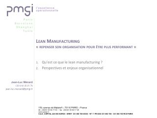 Lean Manufacturing   repenser son organisation pour  tre plus performant