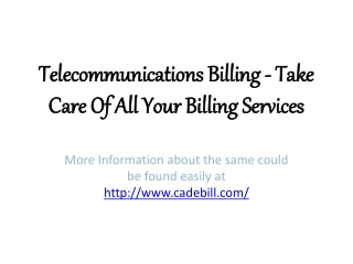 Telecommunications Billing -Take Care of Your Billing Servic