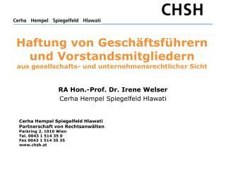 RA Hon.-Prof. Dr. Irene Welser Cerha Hempel Spiegelfeld Hlawati