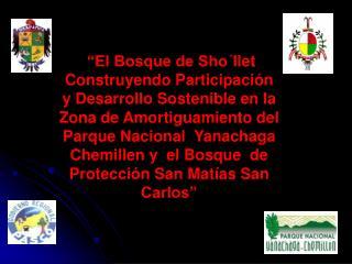El Bosque de Sho llet Construyendo Participaci n y Desarrollo Sostenible en la Zona de Amortiguamiento del Parque Nacio
