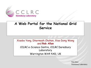 A Web Portal for the National Grid Service