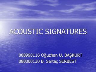 acoustic signatures