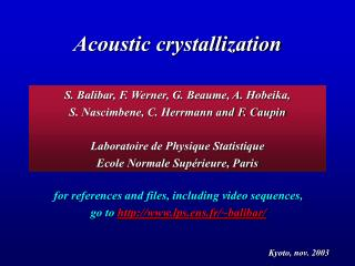 acoustic crystallization