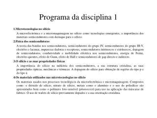 Programa da disciplina 1