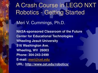 A Crash Course in LEGO NXT Robotics - Getting Started