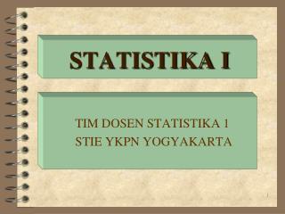 STATISTIKA I