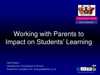working with parents to impact on students  learning