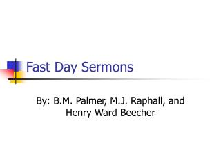 Fast Day Sermons