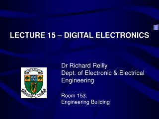 LECTURE 15   DIGITAL ELECTRONICS