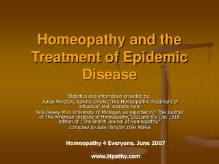 homeopathy and the treatment of epidemic disease