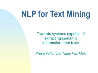 NLP for Text Mining