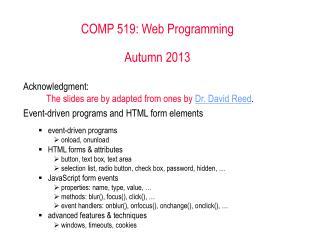 COMP 519: Web Programming  Autumn 2013