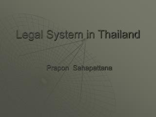 Legal System in Thailand