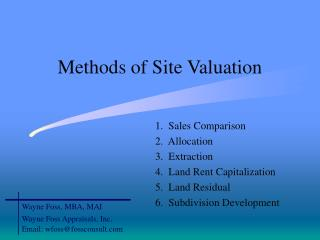 Methods of Site Valuation