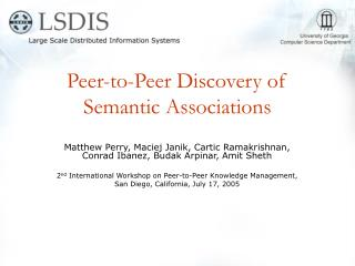 Peer-to-Peer Discovery of Semantic Associations