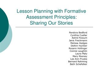 Lesson Planning with Formative  Assessment Principles: Sharing Our Stories