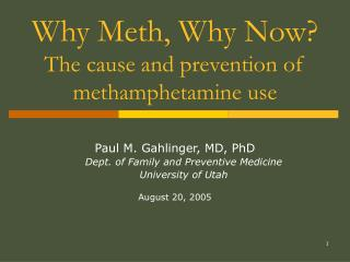 Why Meth, Why Now The cause and prevention of methamphetamine use