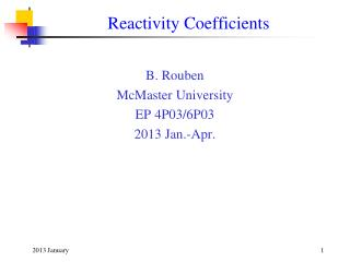 Reactivity Coefficients