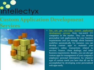 Get custom application development services from reputed I.T