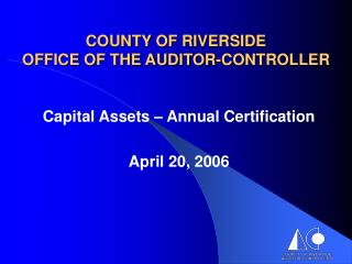county of riverside office of the auditor-controller