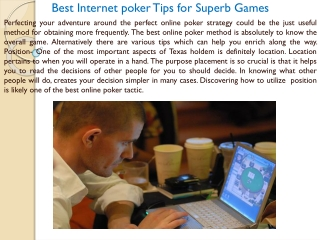 Best Internet poker Tips for Superb Games